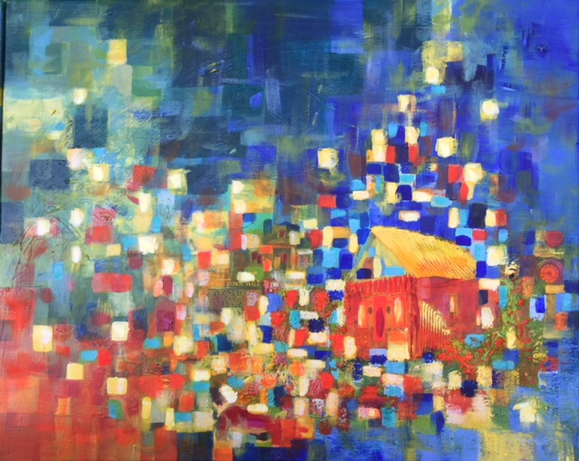 In Community We Thrive Diptych Right Side Pixelated Abstract